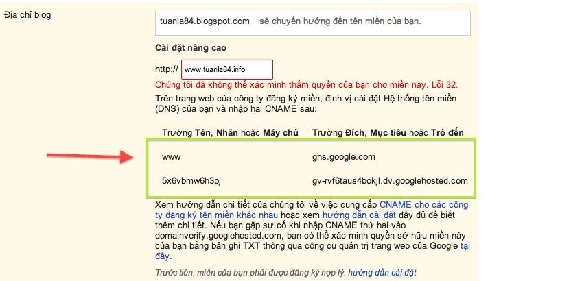 Cài đặt tên miền ( domain ) Vào blogger 4