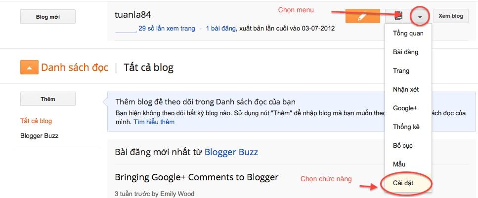 Cài đặt tên miền ( domain ) Vào blogger1
